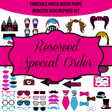printable girly photo booth props instant download girly monsters monster high inspired birthday party