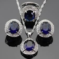 blue sapphire necklace set images 2018 luxury white cz surrounded blue created sapphire jewelry set jpg