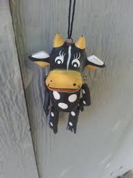 cow ornament puppet black puppet ornaments wood handmade