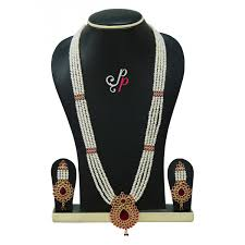 gold rani haar sets haar in real pearls and semi precious ruby studded pendant