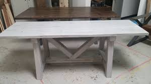 Kids Farmhouse Table Custom Distressed Grey Trestle Farmhouse Table Reclaimed Wood