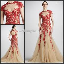2013 elie saab dress tulle red lace hollow back prom gown