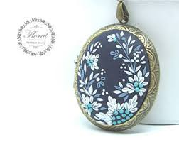 Personalized Photo Locket Necklace Blue Locket Etsy