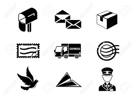 post service vector black icon set mail and letter envelope