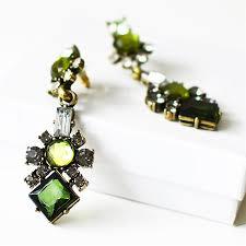 sparkly green earrings symmetrical earrings statement earrings by shamelessly