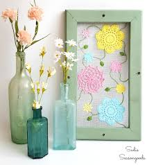 cottage style spring decor with vintage doily flowers on an