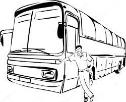 sketch of a man near his bus driver u2014 stock vector artex67 6503419