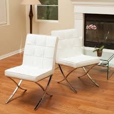 Beige Leather Dining Chairs Milania White Leather Dining Chairs Set Of 2 By Christopher
