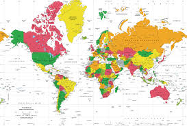 world map political with country names white oceans world political map wall mural mercator projection