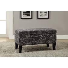 linon home decor stephanie grey and black storage ottoman