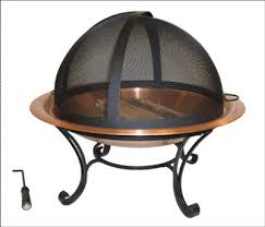 Copper Firepit Traditional Copper Pit Bowl With Easy Access Screen