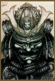 hannya mask samurai tattoo elaborate japanese carved wood and lacquer two panel oni samurai