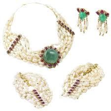 emerald ruby necklace images Emerald ruby pearl diamond gold necklace earring and bracelet jpg
