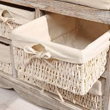 Schlafzimmer Banktruhe Sitzbank Kommode 5 Körbe Shabby Chic Weiß Bank Truhe Flur Vintage