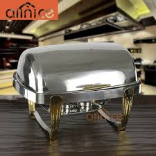 Stainless Steel Buffet Trays by Allnice Exquisite Stainless Steel Oblong Roll Top Food Buffet Tray
