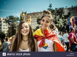 Spain Flag 2014 Barcelona Spain 12th October 2014 Two Girls With Spanish Flags