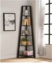 Corner Ladder Bookcase Office 5 Shelf Corner Ladder Bookcase Espresso