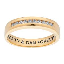 wedding band names 10k yellow gold cz engraved name wedding band 22372