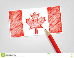 canada flag sketch style with red pencil color editable clip art