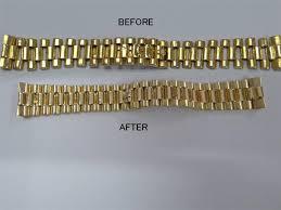 gold bracelet rolex images Rolex president bracelet band restoration rebuilding resleeve JPG