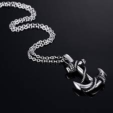 titanium stainless steel necklace images Men stainless steel necklace gold color titanium anchor pendant jpg