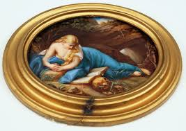 meissen oval plate painting allegory of perishability circa 1870