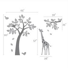 White Tree Wall Decal Nursery by Tree Wall Decal With Monkeys Giraffe And Birds Scheme A
