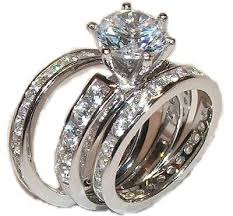 ring sets 3 cz wedding engagement wedding ring set sterling edwin