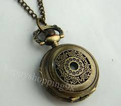 vintage necklace watch pendant images Wholesale retail silver bronze heart hollow out pocket watch jpg