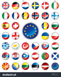 glossy button flags europe 38 vector stock vector 56610937