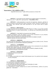 association bureau conseil d administration statuts de l association villages en vie