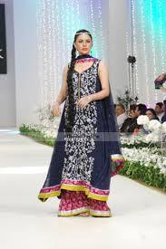 navy blue shocking pink a line shirt sharara latest designer