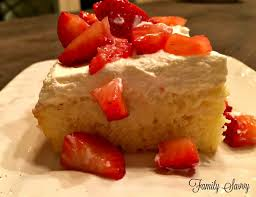 tres leches cake with strawberries family savvy