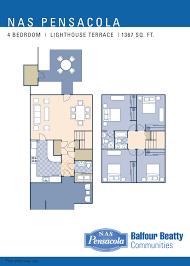 Townhome Floorplans by Nas Pensacola U2013 Lighthouse Terrace Neighborhood 4 Bedroom