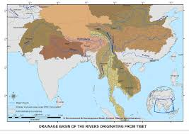 Rivers In China Map Map Showing The Drainage Basins Of Major Asian Rivers Originating