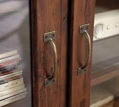 printer u0027s glass cabinet media stand tuscan chestnut pottery barn