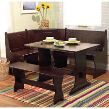 Nelson Corner Breakfast Nook Set With Bench Driftwood Hayneedle - Kitchen table nook dining set