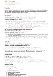 Resume Sample For Pharmacy Technician by Certified Pharmacy Technician Resume Sample Resume Examples