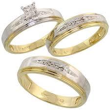 wedding ring set for 10k yellow gold diamond trio engagement wedding ring