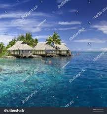 lagoon moorea tahiti overwater bungalow on stock photo 54905998