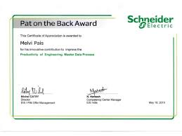scheider electric pat on the back award