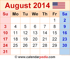 august 2014 calendars for word excel pdf