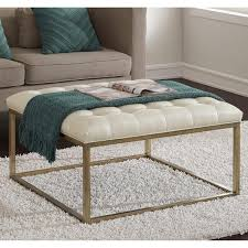 leather and metal ottoman glitz healy cream and gold ottoman