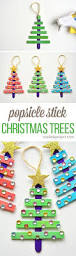 Christmas Ornaments Crafts To Make by Glittering Popsicle Stick Christmas Trees Recipe Stick