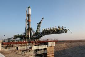 photos soyuz rocket moved to baikonur launch pad at sunrise