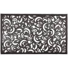 Recycled Rubber Tiles Home Depot by Entryways Scroll Flowers 18 In X 30 In Recycled Rubber Door Mat