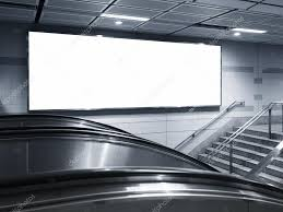 blank horizontal big billboard template sign in subway station