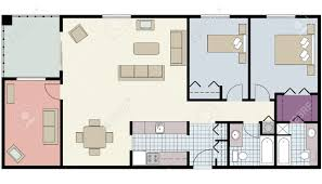 vector of two bedroom floor plan with den and furniture royalty