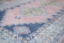 Beachy Rugs Maya Vintage Wool Oushak Rug Pink Blue 4 U0027x7 U0027 Beachy Boheme