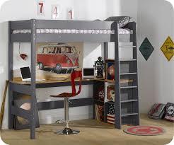 lit surélevé avec bureau lit mezzanine clay gris anthracite avec bureau